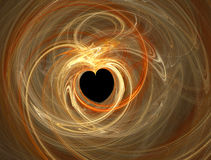 Heart shape. Valentines abstract heart shape, golden swirl over black Stock Photos