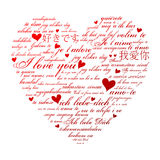 Heart Shape. A heart made of words I love you in many languages royalty free illustration