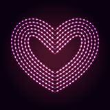 Heart shape abstract neon lights background. Glowing dots and lines. Heart shape abstract neon lights background for your design royalty free illustration