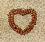 Heart shape from almonds Royalty Free Stock Images
