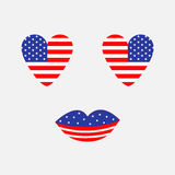 Heart shape american flag icon set. Face with eyes and lips. Star and strip. Happy independence day United states of America. 4th Stock Photography