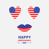 Heart shape american flag icon set. Face with eyes and lips. Star and strip. 4th of July. Happy independence day United states of. America. Greeting card. Flat stock illustration