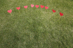 Heart shape applied on the lawn Stock Photography
