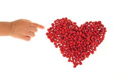 Heart Shape Arranged With Red Beans Royalty Free Stock Photos