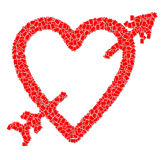 Heart shape and arrow. Red heart with arrow mean about love Stock Photography