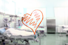 Heart shape in the background of a hospital ward Royalty Free Stock Images