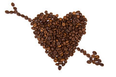 Heart shape background made with coffee beans Royalty Free Stock Images