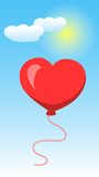 Heart Shape Of Balloon on Blue Sky and White Clouds. Valentines Day. Vector illustration Stock Photo