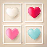 Heart shape balloons with frames Stock Photos