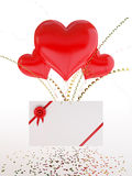 Heart shape balloons and a love note on Valentine Stock Images
