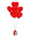 Heart shape baloon and gift. 3d render of red heart shape baloon and gift box on white background Stock Image