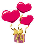 Heart shape baloon and gift Stock Photos