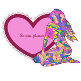 Heart shape banner with woman Stock Photos