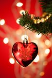 Heart Shape Bauble On Christmas Tree Stock Image