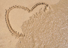 Heart shape on the beach sand Royalty Free Stock Photography