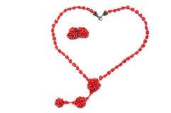 Heart shape beads with earrings Stock Images