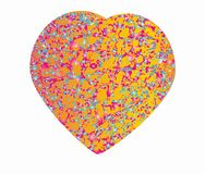 Heart shape beautiful festive present symbol love. Heart shape filled with a pink yellow yellow festive pattern, design element for decoration Stock Photos