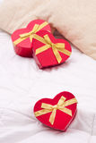 Heart shape in the bedroom Royalty Free Stock Photos