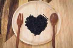 Heart shape of black sesame Royalty Free Stock Images