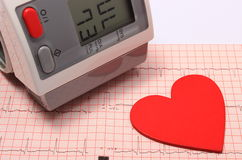 Heart shape and blood pressure monitor on electrocardiogram Royalty Free Stock Photos