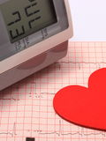 Heart shape and blood pressure monitor on electrocardiogram Royalty Free Stock Images