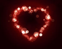 Heart Shape of Blurry Lights. Lovely heart shape of blurry lights valentines day card Royalty Free Stock Images