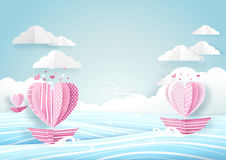 Heart shape boat in sea and cloud sky. Love concept. Heart shape boat in the sea and cloud sky. Love concept. Paper art and origami style Stock Photo