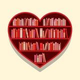 Heart Shape Bookshelf On Wall Stock Photo