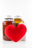 Heart shape with bottles Royalty Free Stock Images