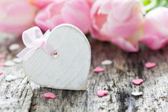 Heart shape with bow Royalty Free Stock Images