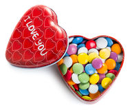 Heart shape box with colorful chocolate coated candy Royalty Free Stock Image