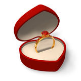 Heart-shape box with golden ring with jewels Stock Images