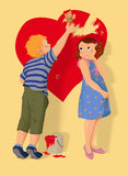 Heart shape, boy and girl in love. Stock Photography