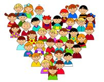 Heart shape with boys and girls. For friendship and love concept Royalty Free Stock Photo