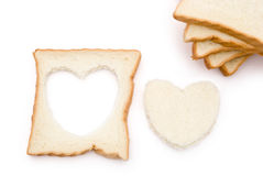 Heart shape bread. And slices Royalty Free Stock Images