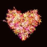 Heart shape from bright glowing stars stock images