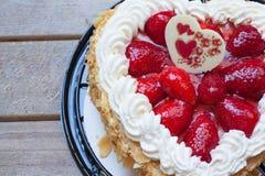 Heart shape cake with Strawberry Stock Photo