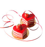Heart shape cakes on white Royalty Free Stock Photos