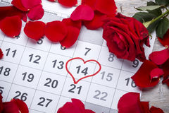 Heart shape in the calendar Royalty Free Stock Photos