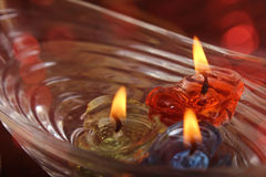 Heart shape candle floating on water, festival concept Royalty Free Stock Images