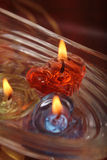 Heart shape candle floating on water, festival concept Royalty Free Stock Photography