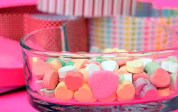 Heart shape candy. Candy, bowl, and gift box in heart shape stock photography