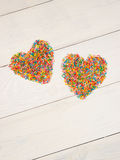 Heart-shape from candy confetti Royalty Free Stock Image