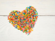 Heart-shape from candy confetti Stock Images