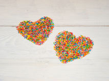 Heart-shape from candy confetti Royalty Free Stock Photo