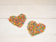 Heart-shape from candy confetti Royalty Free Stock Images
