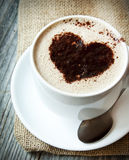 Heart Shape on Cappuccino Cup Royalty Free Stock Images