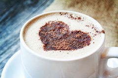 Heart Shape on Cappuccino Cup Royalty Free Stock Photos