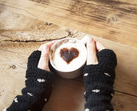 Heart Shape Cappuccino Cup with Whipped Cream Royalty Free Stock Images