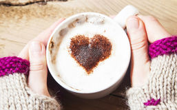 Heart Shape Cappuccino Cup with Whipped Cream Royalty Free Stock Photo